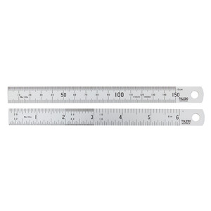 Toledo 150mm Metric and English Stainless Steel Rule - Double Sided - 150B6