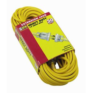 HPM Heavy duty 10A 2400W Standard 20m Extension Lead Yellow 3 core 1.0mm² - R2820