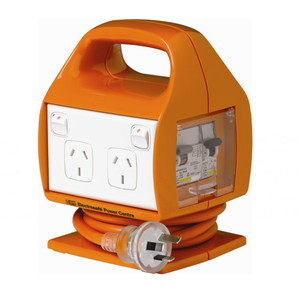 HPM Worksite 1.8m Lead Powerboard 10A 2400W 4 Outlets IP33 Orange RCBO Orotection - REPC410