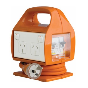 HPM 1.8m Lead Worksite Powerboard 15A 3600W 4 outlets IP33 Orange RCBO Protection - REPC415