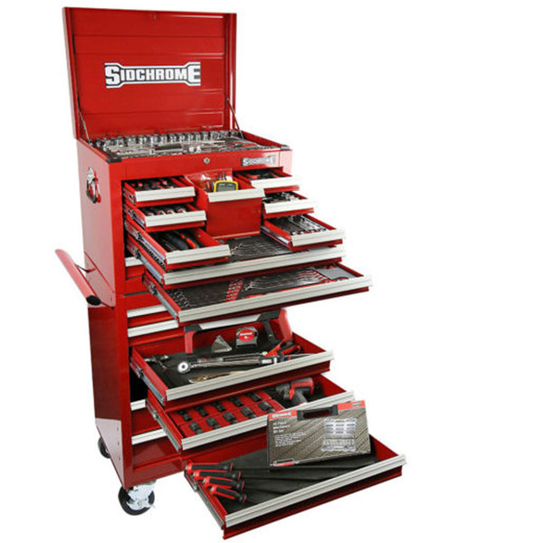 Sidchrome 334 Piece Met A/F Tool Kit Roll Cab With Top Chest - SCMT11405