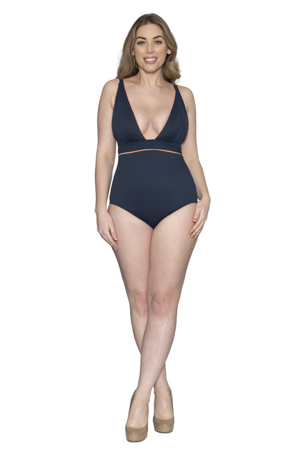 Curvy Kate Poolside Non-Wired Plunge Swimsuit Navy/Coral, front