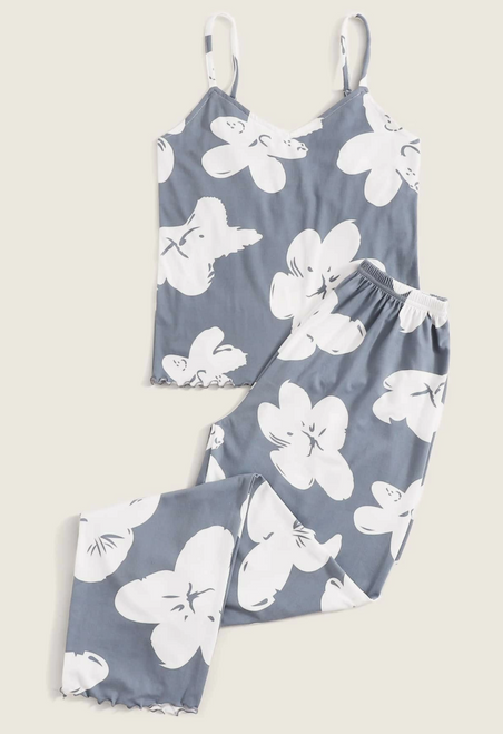 Floral blue and white long PJ's front view