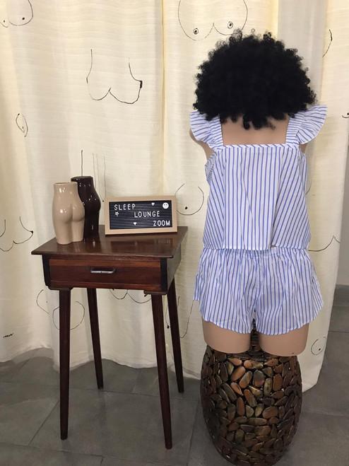 Gabby- striped ruffle straps pajama shorts set