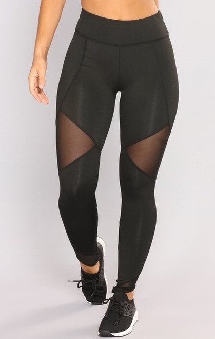 High rise workout leggings for high performance. Mesh inserts and hidden back  pocket. Front view