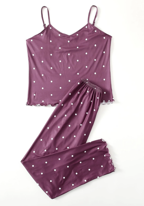 purple polka dot pjs front
