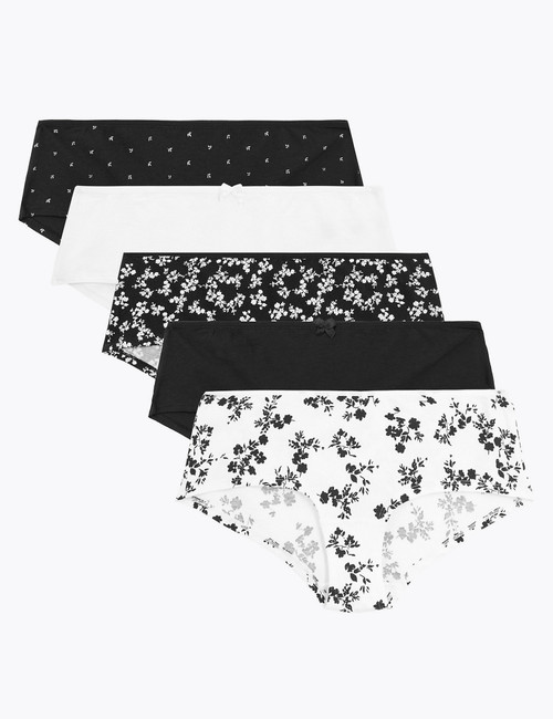 M&S cotton mono floral hipster panties