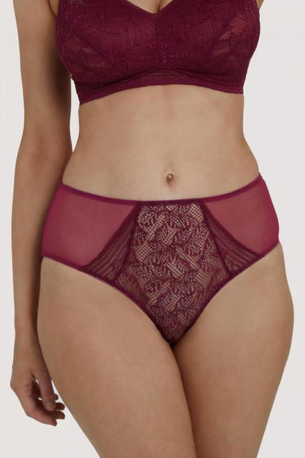 Emma high waist panties front view merlot