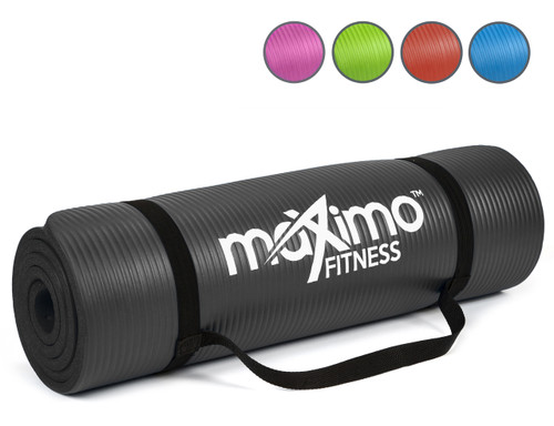 Maximo Exercise Mat - Premium Quality Gym Mat - Multi Purpose - 183cm Length x 60cm Width x 1.2cm Thick - Perfect for Yoga, Pilates, Sit-Ups and Stretching - Lifetime Warranty. (Black)