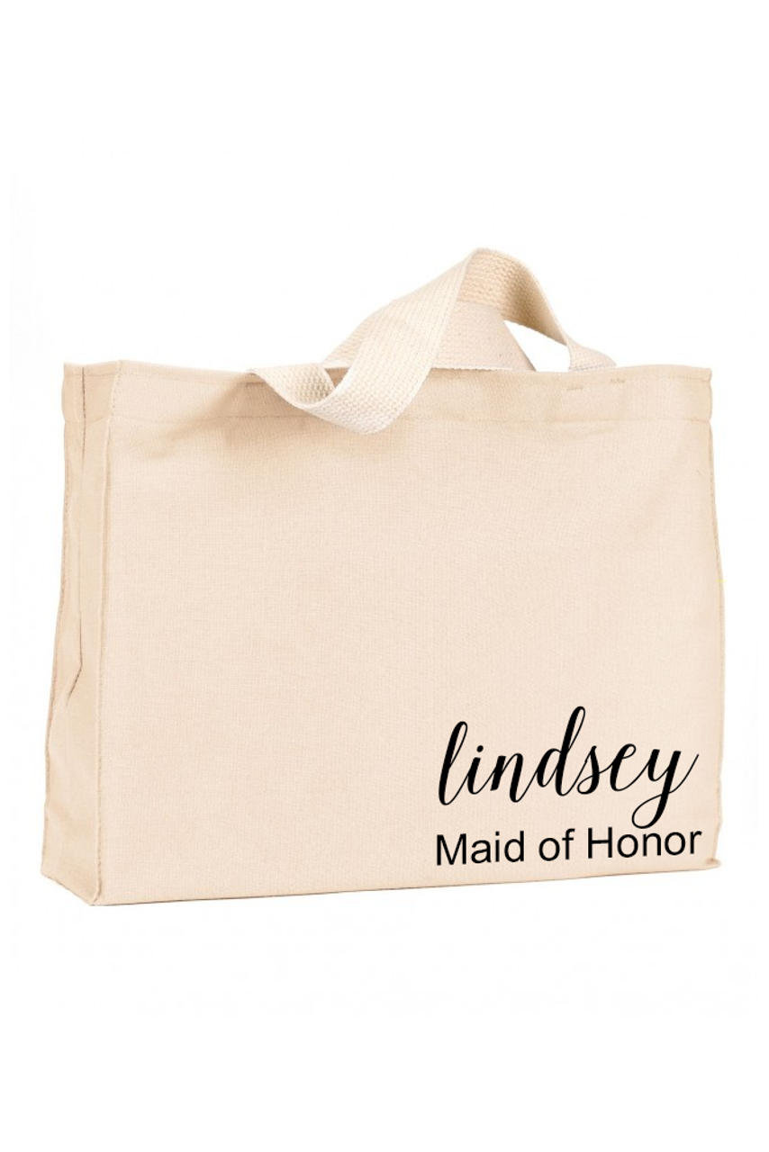 8d87f1cb89c Canvas Tote Bag with Printed Name and Optional Title