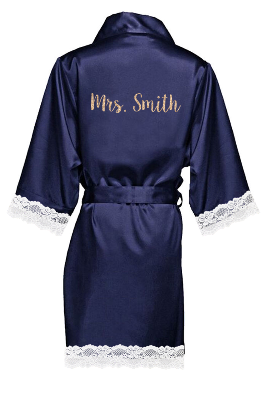 5c678ac37f7 Personalized Lace Satin Robes with Glitter Print