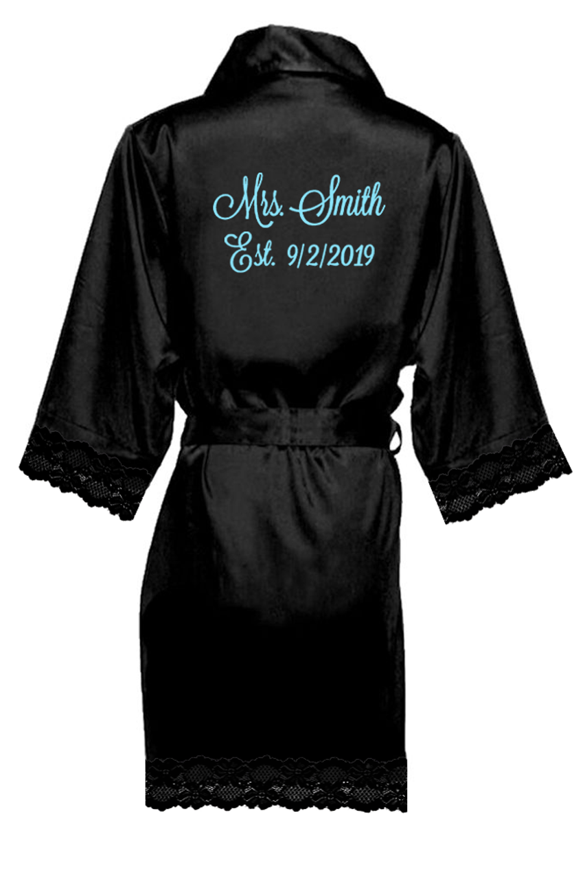 b95dbde990 Personalized Embroidered Mrs. with Established Date Lace Satin Robes ...