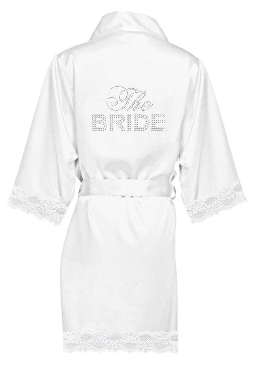 19cf26ad139 Big Bling Lace Satin Bridal Party Robes