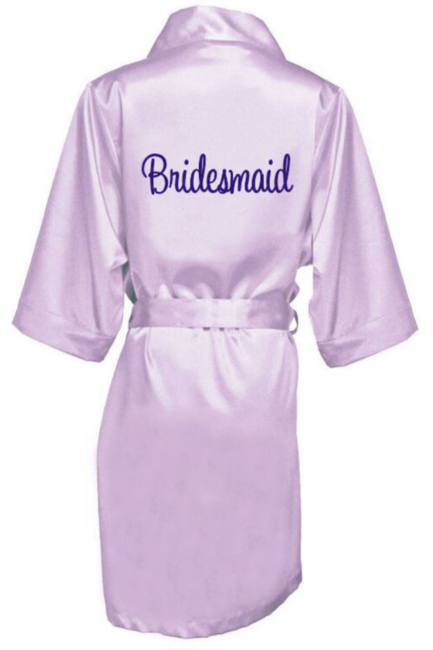 harmonious colors big sale available Embroidered Satin Getting Ready Robes with Bridal Party Titles