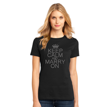 Rhinestone Keep Calm and Marry On Crew Neck T-Shirt