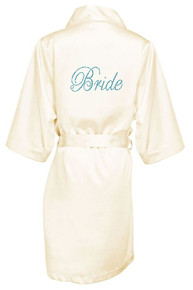 Two Stone Bride Rhinestone Satin Robe