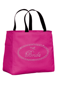 Rhinestone Bridal Party Tote Bags with Sparkling Oval Frame