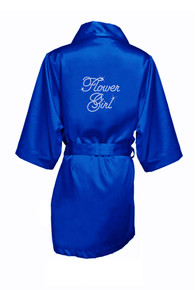 Blue Rhinestone Flower Girl Satin Robe
