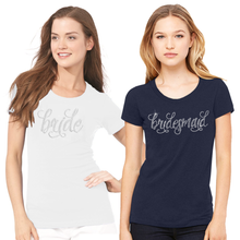 Rhinestone Bridal Party Crew Neck T-Shirt with Pretty Script Font