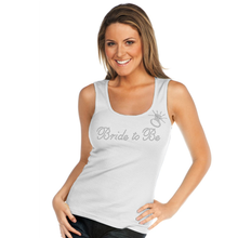 Ribbed Tank Top with Rhinestone Bride to Be and Ring Accent