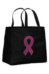 Black Tote Bag with Pink Ribbon
