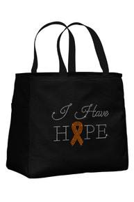 Black Tote Bag with Sun Orange Ribbon