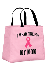 Pink Tote Bag with Black Wording