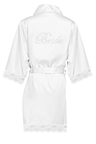 Rhinestone Bridal Party Lace Satin Robes