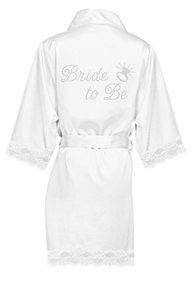 GIRLEO Women's Rhinestone Bride-to-Be wedding bridal party engagement wedding shower getting ready shower white robe