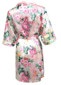 Pastel Floral Satin Bridal Party Robes with Glitter Print