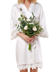 White Satin Robe with White Lace Trim