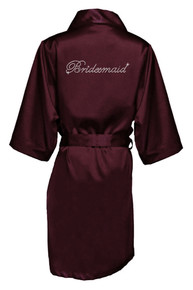 Wine Rhinestone Bridesmaid Satin Robe