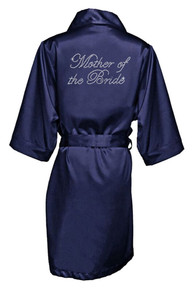 Navy Rhinestone Mother of the Bride Satin Robe
