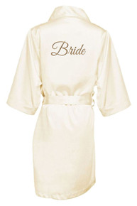 Ivory Gold Thread Embroidered Bride Satin Robe