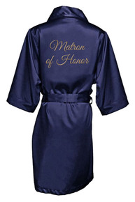 Navy Gold Thread Embroidered Matron of Honor Satin Robe