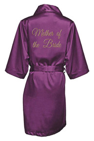 Eggplant Gold Thread Embroidered Mother of the Bride Satin Robe
