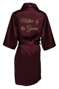 Wine Gold Thread Embroidered Mother of the Groom Satin Robe