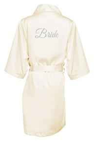 Ivory Silver Glitter Print Bride Satin Robe