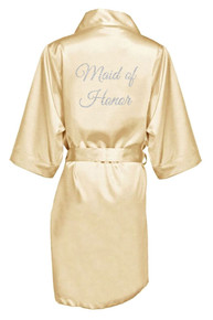 Champagne Silver Glitter Print Maid of Honor Satin Robe