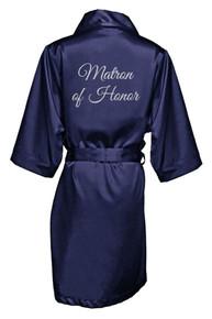 Navy Silver Glitter Print Matron of Honor Satin Robe