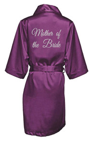 Eggplant Silver Glitter Print Mother of the Bride Satin Robe