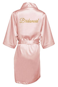 Blush Gold Glitter Print Bridesmaid Satin Robe