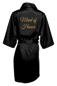 Black Gold Glitter Print Maid of Honor Satin Robe