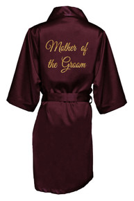 Wine Gold Glitter Print Mother of the Groom Satin Robe