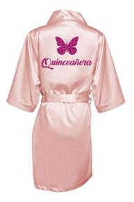 Glitter Print Butterfly Quinceañera Robe