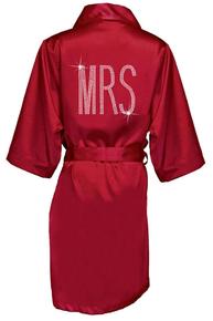 Rhinestone Embellished MRS Satin Robe