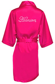 Custom Rhinestone Satin Robes in Script Font