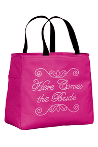 Here Comes the Bride Rhinestone Tote Bag