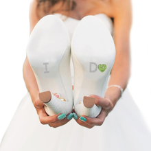 I Do Heart Shoe Stickers for Wedding Shoes - Green