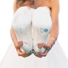 I Do Shoe Stickers for Bridal Shoes - Aqua Heart